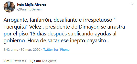 Iván Mejía Álvarez, Jorge Enrique Vélez, Dimayor, coronavirus COVID-19
