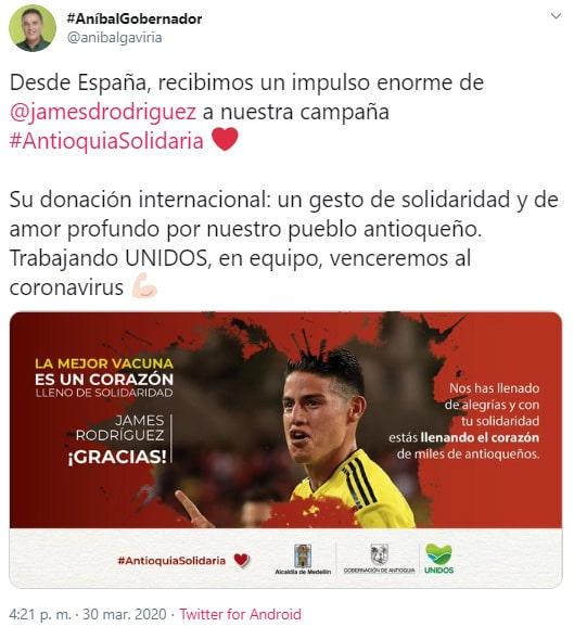 James Rodríguez, Aníbal Gaviria, coronavirus COVID-19