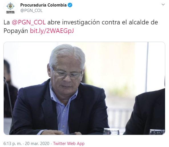 Juan Carlos López, Procuraduría Colombia, Popayán, COVID-19