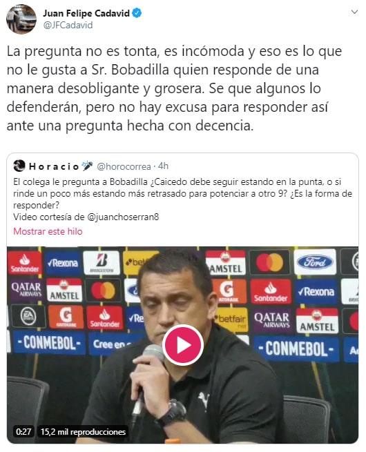 Juan Felipe Cadavid, Aldo Bobadilla, crítica