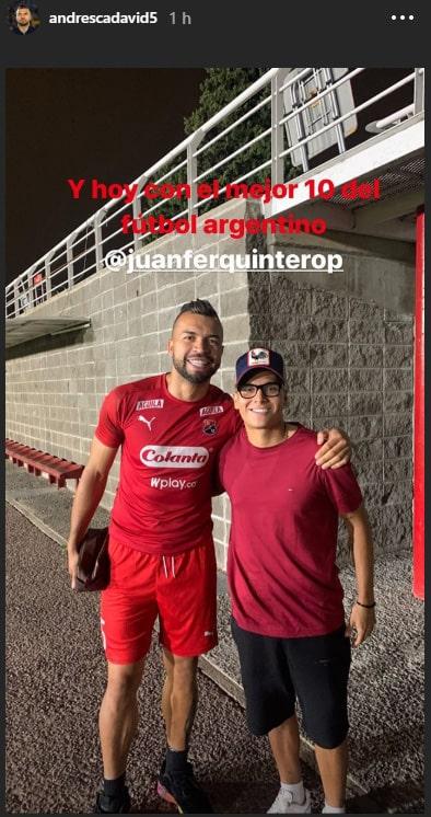 Juan Fernando Quintero, Andrés Cadavid, Instagram