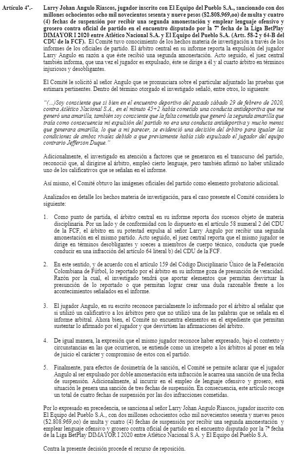 Larry Angulo, suspensión, Liga 2020-I