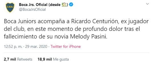 Melody Pasini, Ricardo Centurión, Boca Juniors