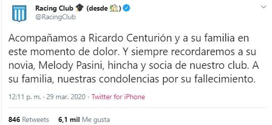 Melody Pasini, Ricardo Centurión, Racing Club