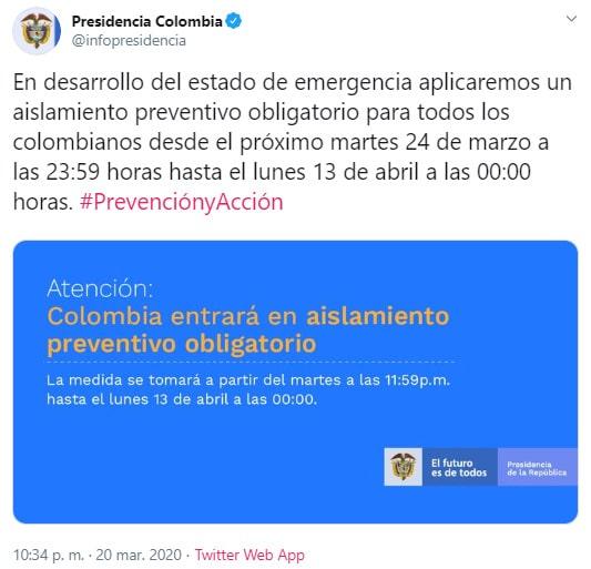 Presidencia Colombia, Iván Duque, COVID-19