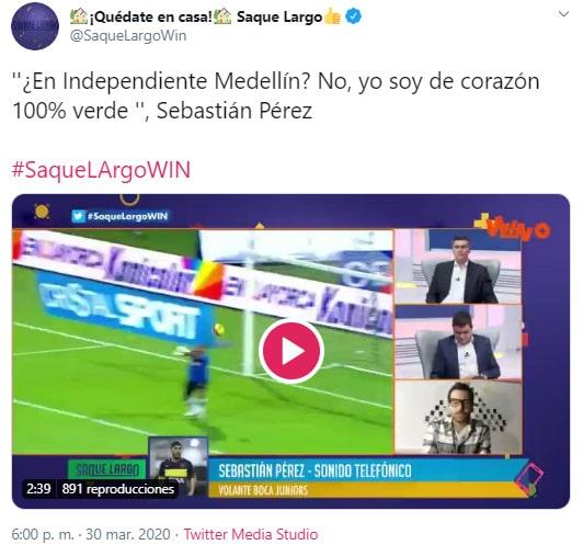Sebastián Pérez, ex Atlético Nacional, 'Saque Largo'
