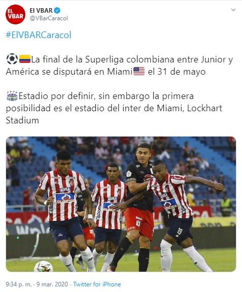 31 de mayo sería la Superliga entre Junior y América 1