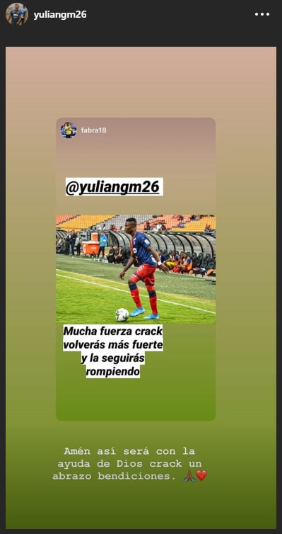 Yulián Gómez, Frank Fabra, Instagram
