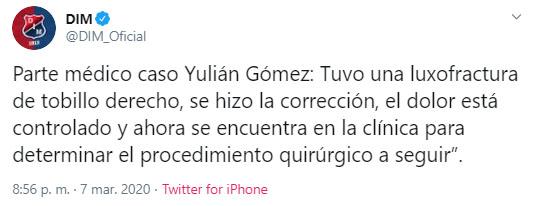 Yulián Gómez, Medellín, parte médico