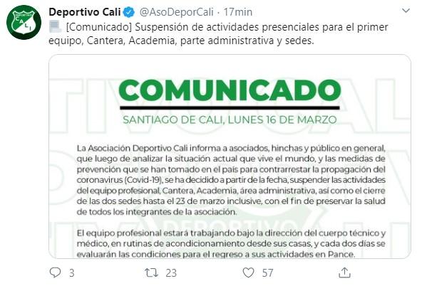 Equipos del fútbol colombiano que paran por el coronavirus 7
