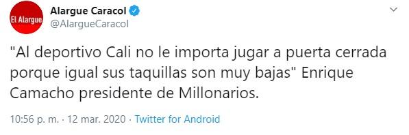 Presidente de Millonarios le responde al Deportivo Cali 1