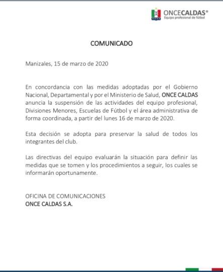 Equipos del fútbol colombiano que paran por el coronavirus 8