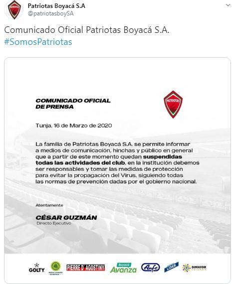 Equipos del fútbol colombiano que paran por el coronavirus 11