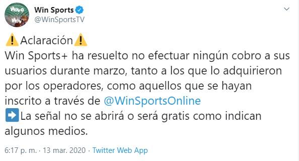 WIN Sports + aclara que el canal no es gratis en marzo 1