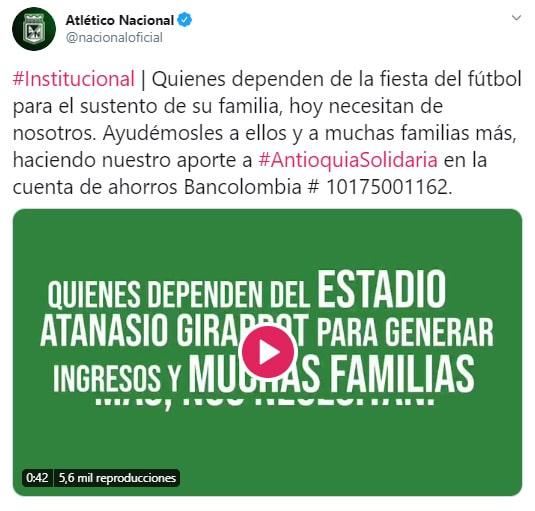 Atlético Nacional, coronavirus COVID-19, Antioquia Solidaria