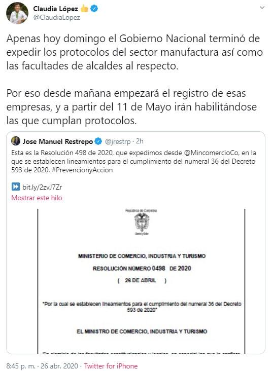 Claudia López, Bogotá, coronavirus COVID-19, Twitter (1)