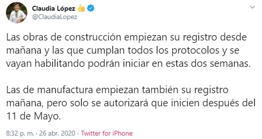 Claudia López, Bogotá, coronavirus COVID-19, Twitter (2)