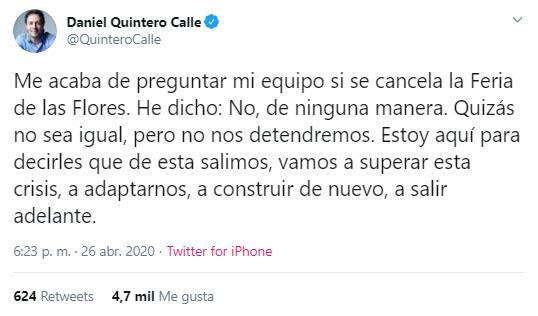 Daniel Quintero, Feria de las Flores 2020, coronavirus COVID-19