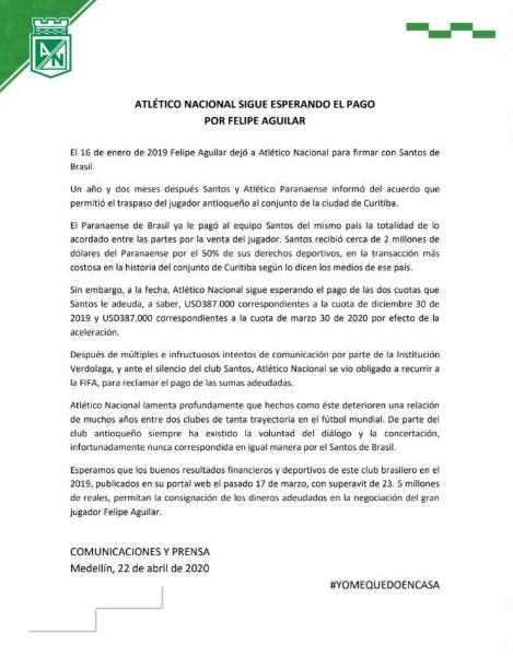 Felipe Aguilar, Atlético Nacional, Santos FC, demanda