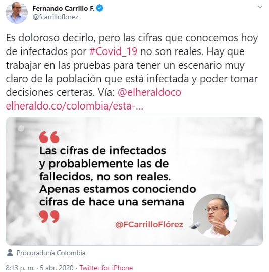 Fernando Carrillo, coronavirus COVID-19, tweet