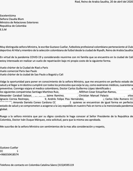 Gustavo Cuéllar, comunicado