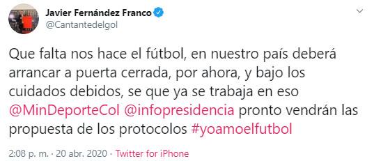 Javier Fernández Franco, Win Sports, Fútbol Profesional Colombiano, coronavirus COVID-19