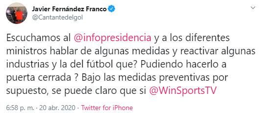 Javier Fernández Franco, Win Sports, Iván Duque, coronavirus COVID-19