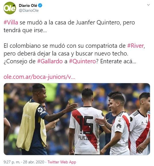 Juan Fernando Quintero, Sebastián Villa, Marcelo Gallardo, Daniela Cortés, River Plate, Boca Juniors, agresión, Diario Olé