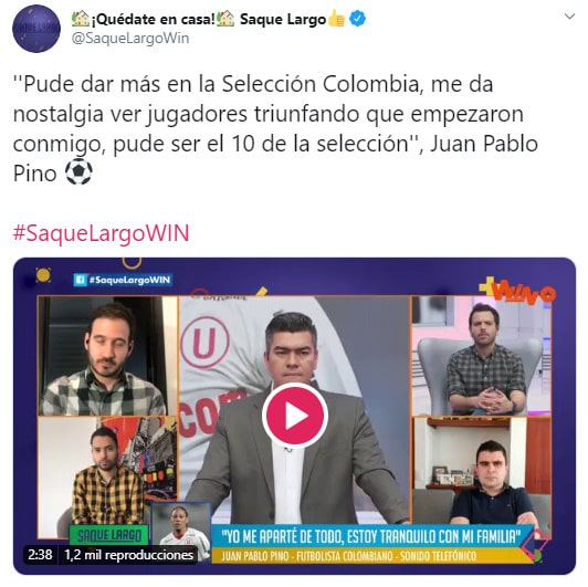 Juan Pablo Pino, ex-Medellín, Saque Largo