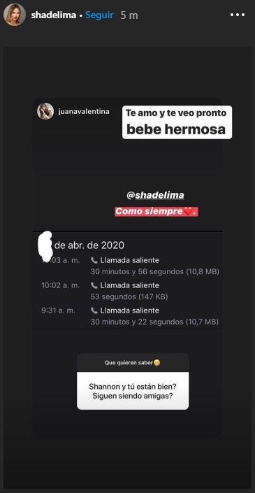 Juana Valentina Restrepo, Shannon de Lima, James Rodríguez, Instagram, respuesta