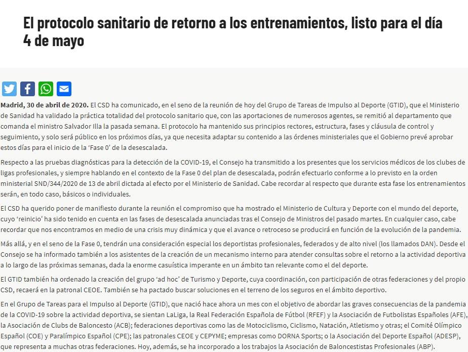 LaLiga 2019-20, reanudación, coronavirus COVID-19
