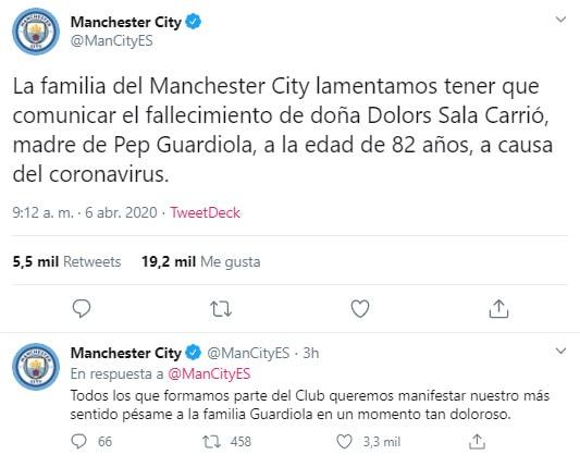 Manchester City, Pep Guardiola, Dolors Sala Carrió, coronavirus COVID-19