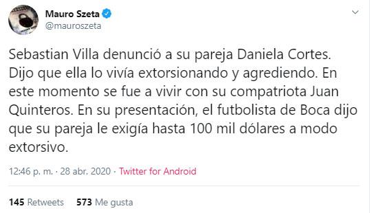 Mauro Szeta, denuncia, Sebastián Villa, Daniela Cortés