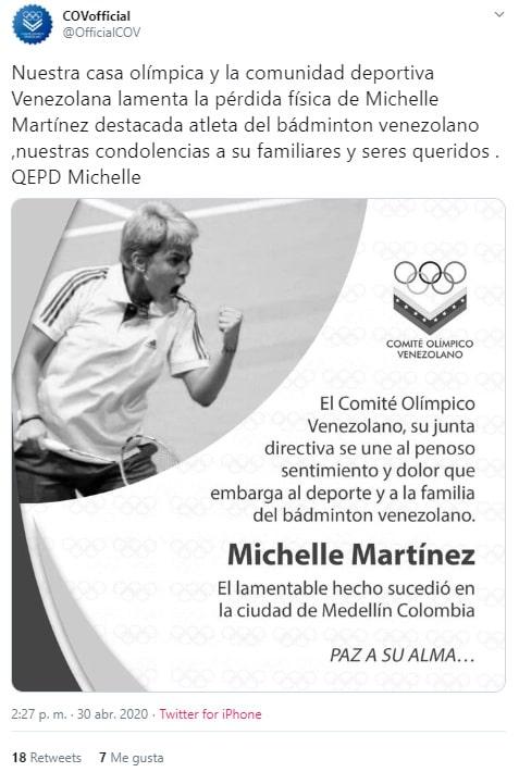 Michelle Martínez, coronavirus COVID-19, Comité Olímpico Venezolano