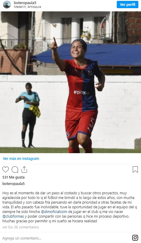 Paula Botero, Deportivo Independiente Medellín, Liga Femenina Águila 2019, adiós