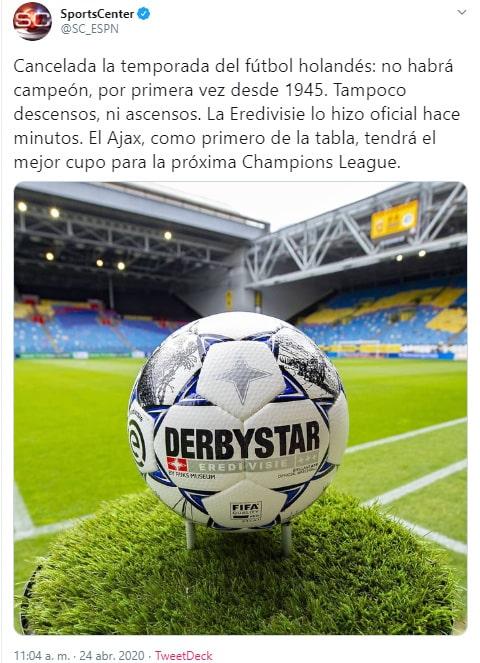 SportsCenter, Eredivisie 2019-20, cancelación
