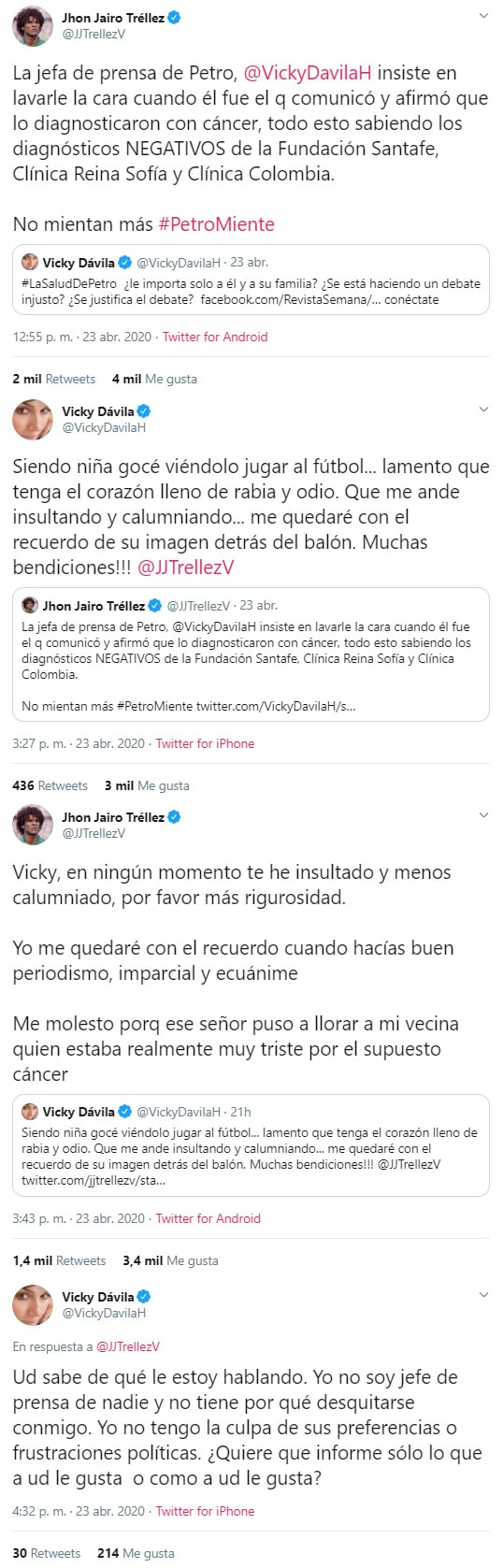 Vicky Dávila, Jhon Jairo Tréllez, discusión, Gustavo Petro, Twitter