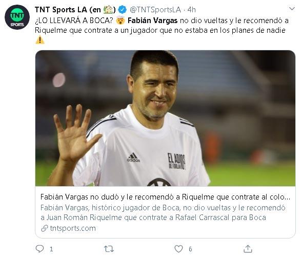 Fabián Vargas cree que Rafael Carrascal encajaría perfectamente en Boca Juniors 1
