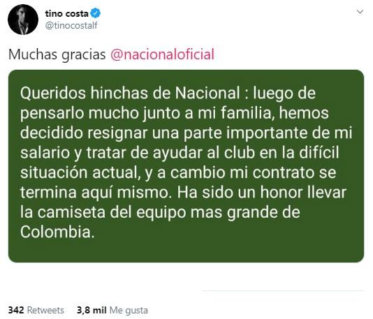 Alberto 'Tino' Costa, afición, adiós, Atlético Nacional