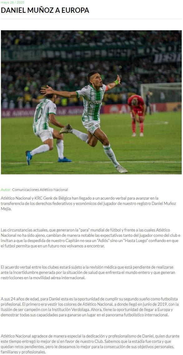 Atlético Nacional, Daniel Muñoz, KRC Genk