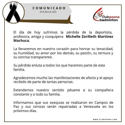 Club Poona, Michelle Martínez, fallecimiento, coronavirus COVID-19