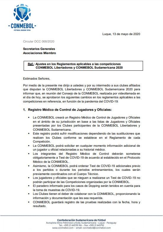 Conmebol, Copa Libertadores 2020, Copa Sudamericana 2020, ajustes (1)