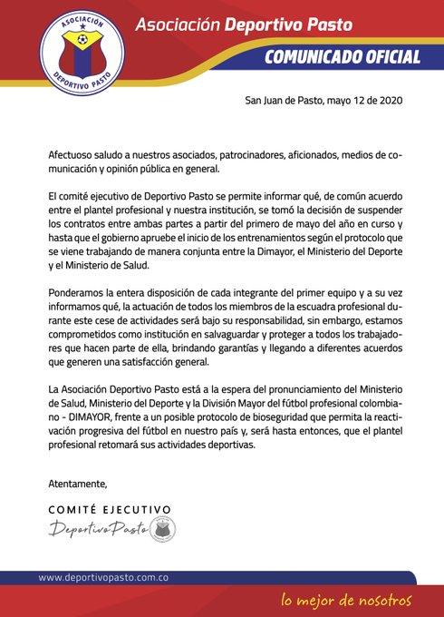 Deportivo Pasto, suspensión contratos, Liga 2020-I, coronavirus COVID-19