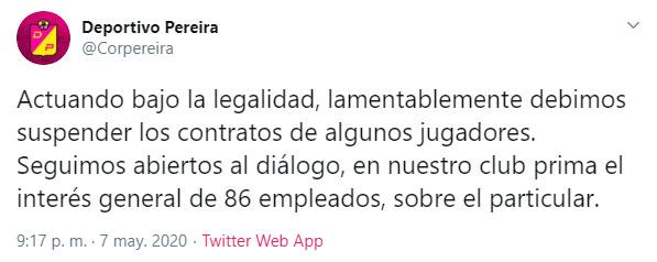 Deportivo Pereira, coronavirus COVID-19, suspensión de contratos (1)