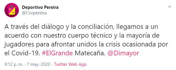 Deportivo Pereira, coronavirus COVID-19, suspensión de contratos