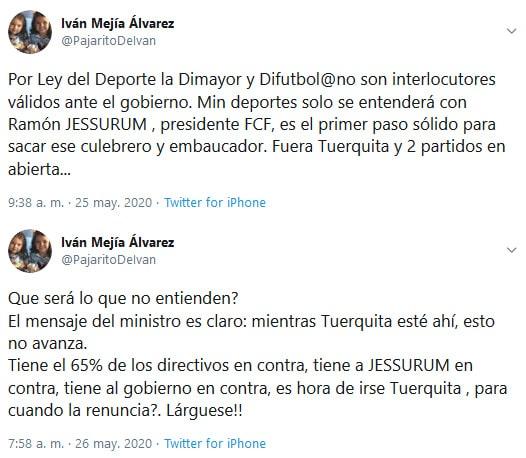 Iván Mejía Álvarez, Jorge Enrique Vélez, Dimayor, críticas
