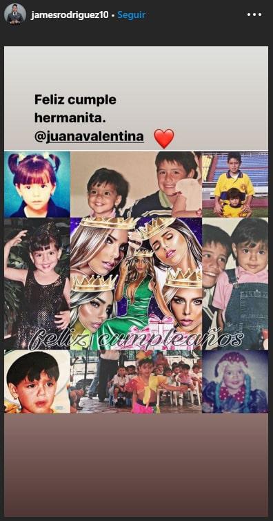 James Rodríguez, Juana Valentina Restrepo, cumpleaños, felicitación
