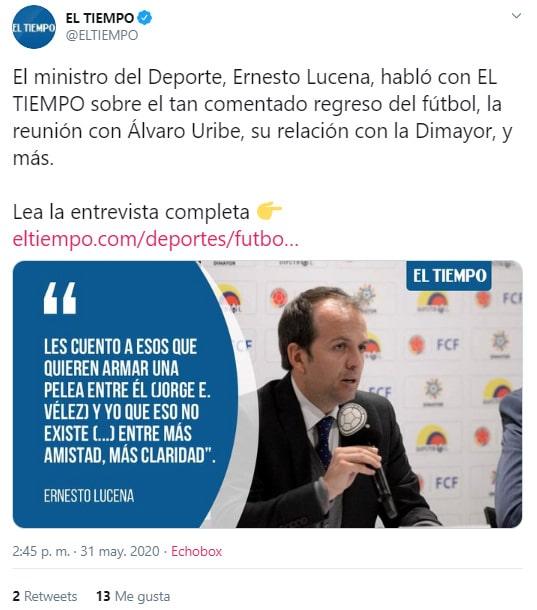 Jorge Enrique Vélez, Ernesto Lucena, Ramón Jesurún, Dimayor, Ministerio del Deporte, Federación Colombiana de Fútbol, El Tiempo