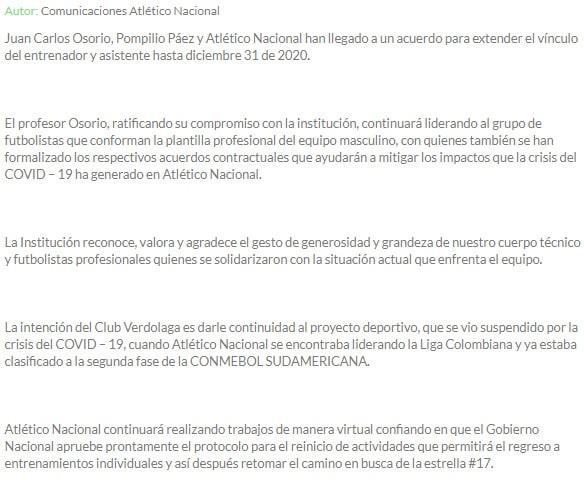 Juan Carlos Osorio, extensión contrato, Atlético Nacional