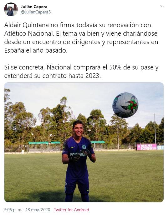 Julián Capera, Atlético Nacional, Aldair Quintana